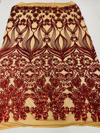Damask Hearts Sequins - Dark Red - 4 Way Stretch Design Fancy Fabric On Mesh