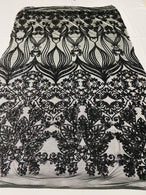 Damask Hearts Sequins - Black - 4 Way Stretch Design Fancy Heart Shape Fabric On Mesh