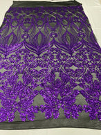 Damask Hearts Sequins - Purple on Black Mesh - 4 Way Stretch Design Fancy Fabric On Mesh