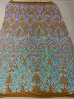Damask Hearts Sequins - Iridescent Aqua - 4 Way Stretch Design Fancy Heart Shape Fabric On Mesh