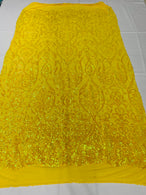 Damask Decor Sequins - Iridescent Yellow - 4 Way Stretch Design High Quality Fabric On Mesh