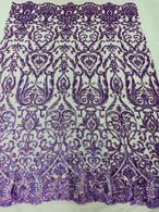 Damask Decor Sequins - Holographic Purple - 4 Way Stretch Design High Quality Fabric On Mesh