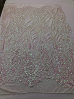 Iridescent Pink Sequin, 4 Way Stretch Damask Design Fabric On Stretch Mesh By The Yard