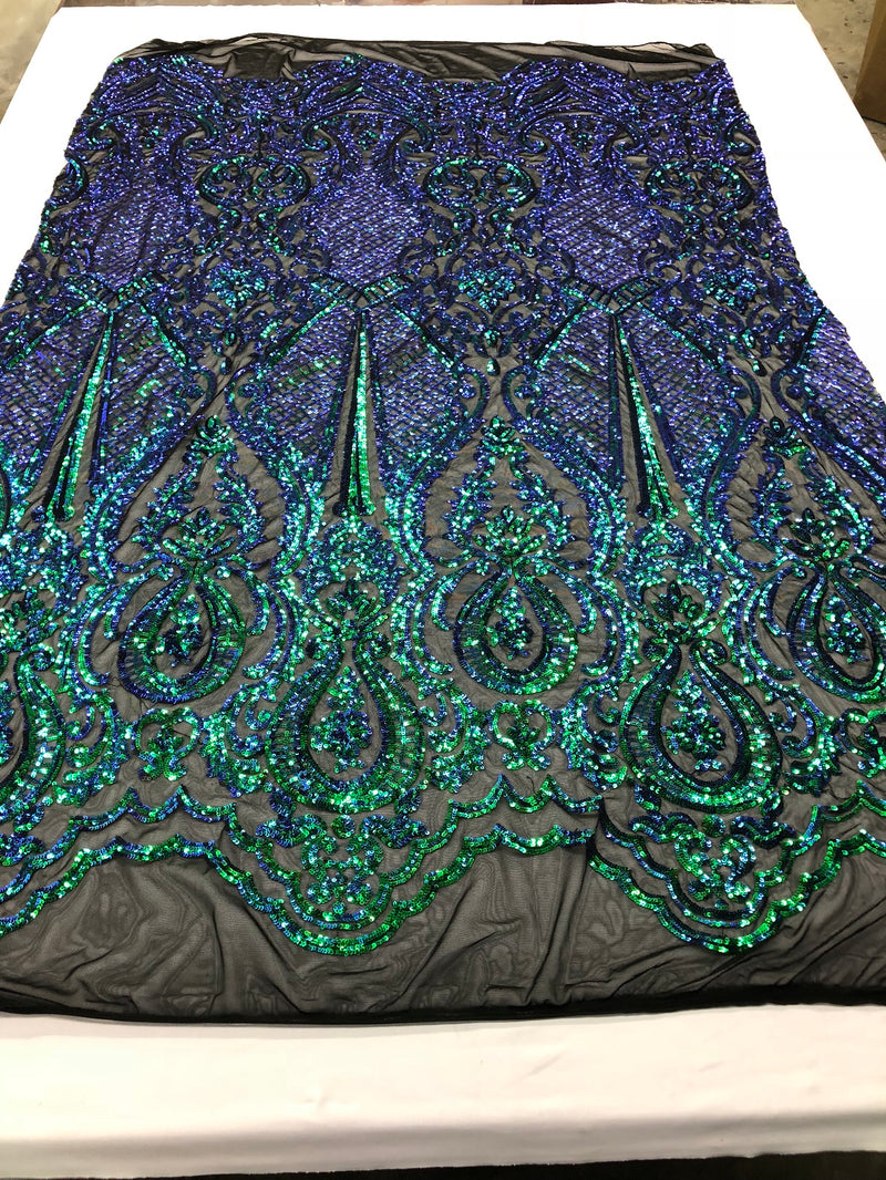 Iridescent Green Sequin, 4 Way Stretch Damask Design Fabric On Black Stretch Mesh By The Yard