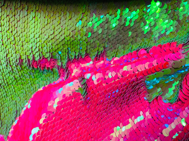 Reversible Sequins - Hot Pink / Lime Green - Mermaid Sequins Stretch Fabric By Yard