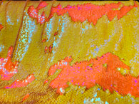Reversible Sequins - Yellow / Orange - Mermaid Sequins Stretch Fabric By Yard