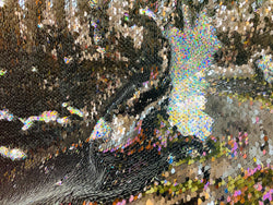 Reversible Sequins - Holographic Silver / Black - Mermaid Sequins Stretch Fabric By Yard