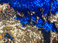 Reversible Sequins - Royal Blue / Gold - Mermaid Sequins Stretch Fabric By Yard