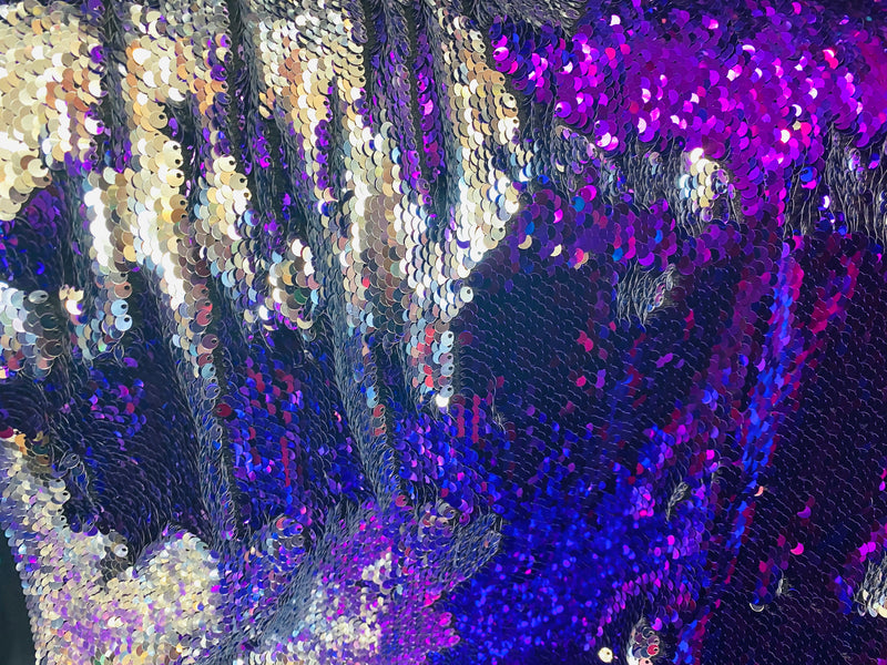 Reversible Sequins - Purple / Silver - Mermaid Sequins Stretch Fabric By Yard