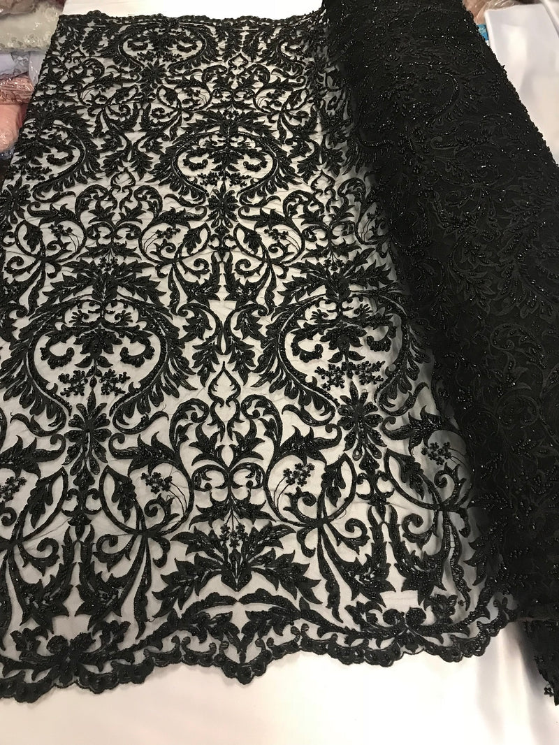 Embroided - Black - Beaded Damask Pattern Fabric Embroidery Lace Design Fabrics Sold By The Yard