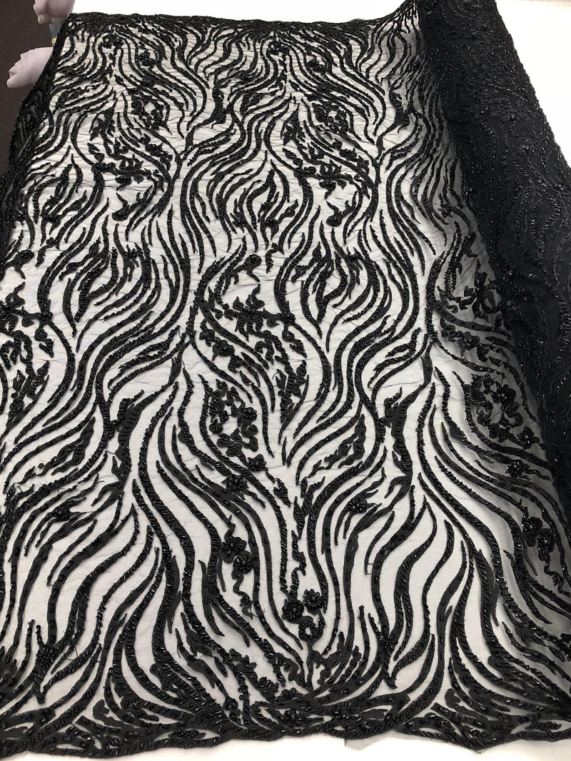 Beaded Zebra Pattern Fabric Black Embroidered Hand beaded Lace Design Fabrics By The Yard