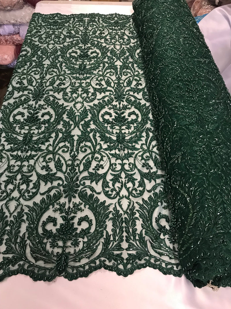 Embroided Hunter Green Beaded Damask Pattern Fabric Embroidery Lace Design Fabrics Sold By The Yard