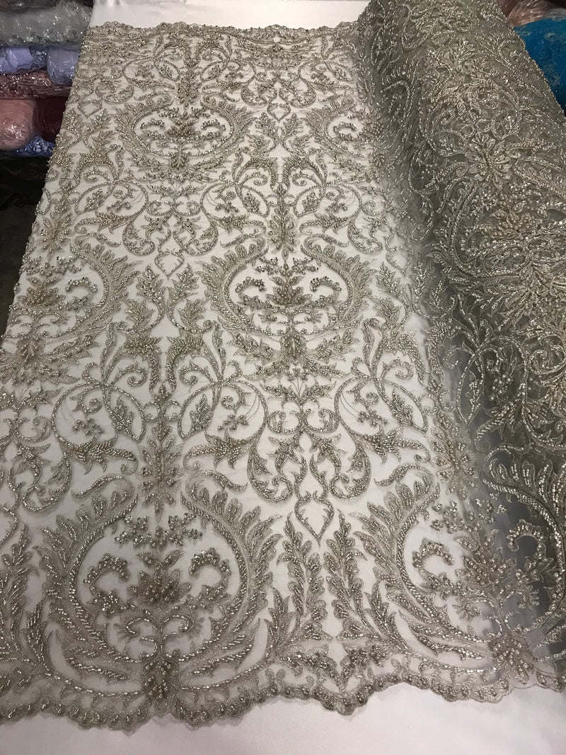 Embroided - Silver - Beaded Damask Pattern Fabric Embroidery Lace Design Fabrics Sold By The Yard
