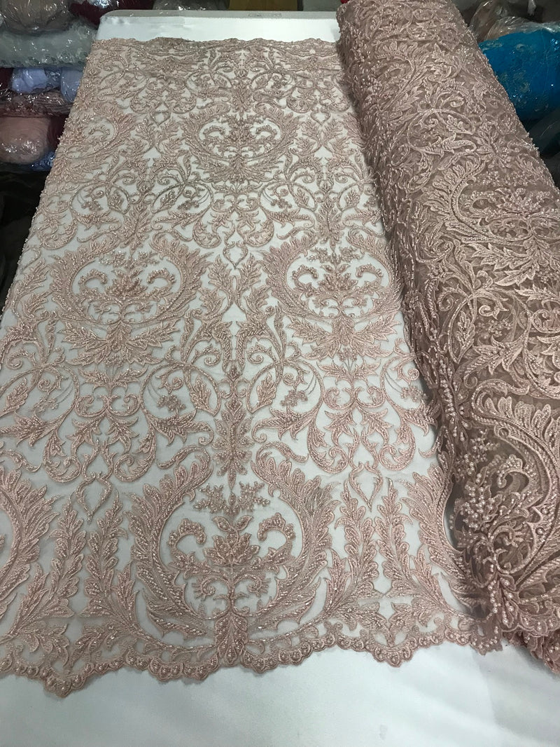 Embroided - Pink - Beaded Damask Pattern Fabric Embroidery Lace Design Fabrics Sold By The Yard
