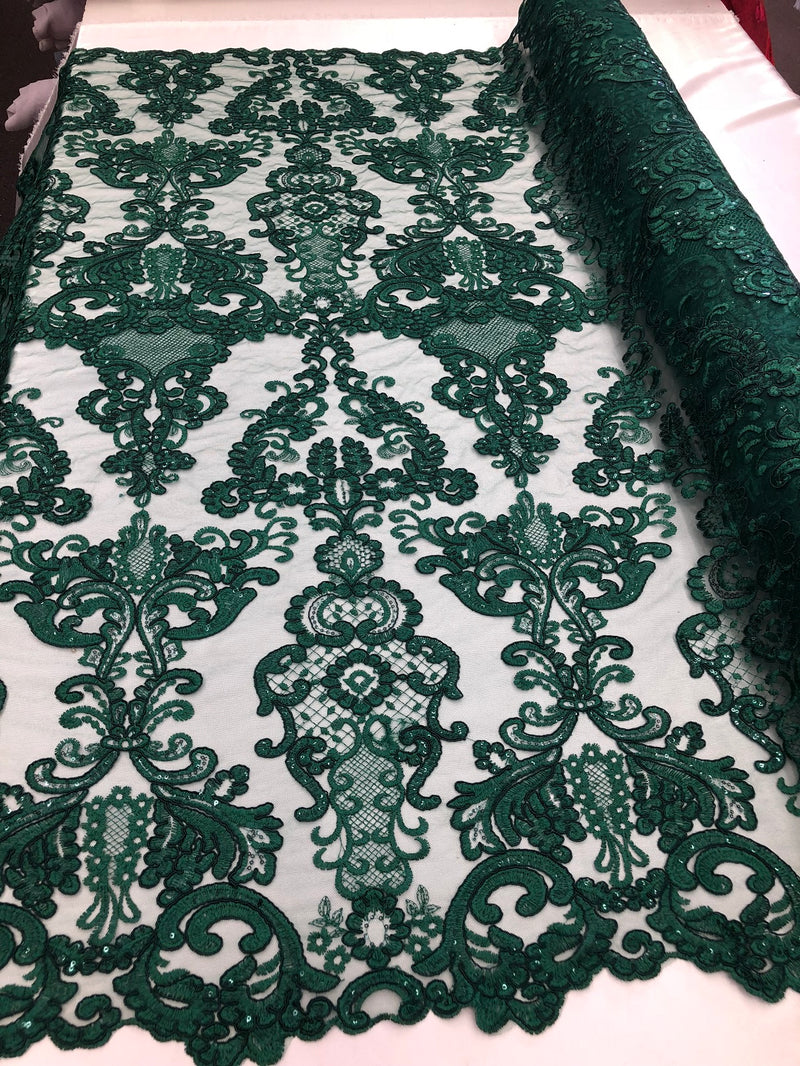 Floral - Hunter Green -Embroided Lace Fabric Damask Pattern - Beautiful Fabrics Sold by The Yard