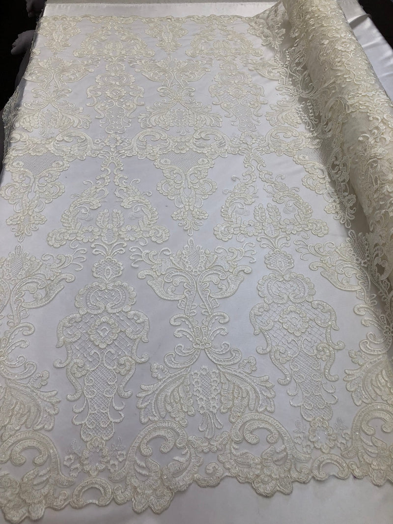 Floral - Ivory - Embroided Lace Fabric Damask Pattern - Beautiful Fabrics Sold by The Yard