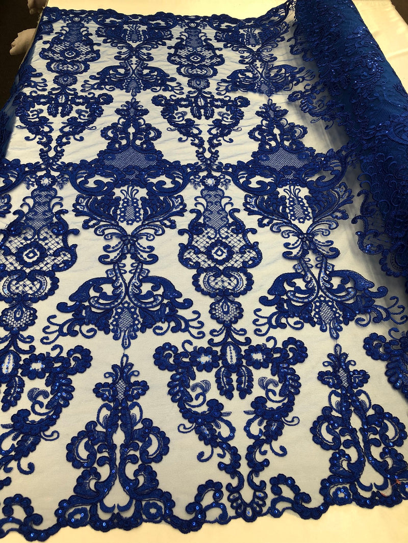 Floral - Royal Blue - Embroided Lace Fabric Damask Pattern - Beautiful Fabrics Sold by The Yard