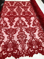 Floral - Red - Embroided Lace Fabric Damask Pattern - Beautiful Fabrics Sold by The Yard