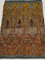 Triangle Sequin Fabric - Iridescent Orange/Yellow - Geometric Designs Spandex Mesh
