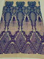 Triangle Sequin Fabric - Iridescent Purple - Geometric Designs Spandex Mesh