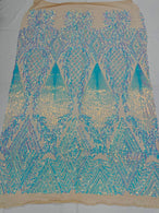 Triangle Sequin Fabric - Iridescent Aqua on Nude - Geometric Designs Spandex Mesh