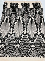 Triangle Sequin Fabric - Black - Geometric Designs Spandex Mesh Fabric