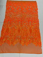 Sequins Fabric - Neon Orange - Fancy Design Spandex Mesh 4 Way Stretch Fabric