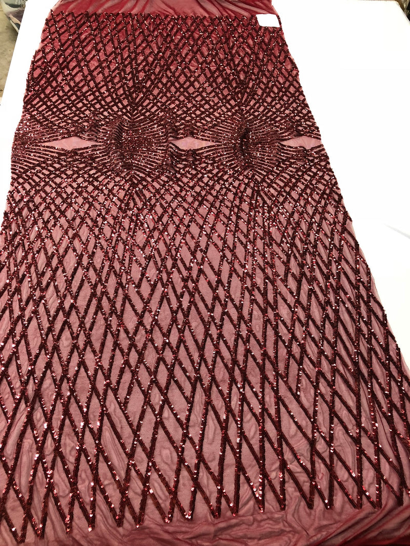 4 Way Stretch Sequins Geometric Fabric Burgundy Lace Mesh Dress Fashion Design Fabrics By The Yard