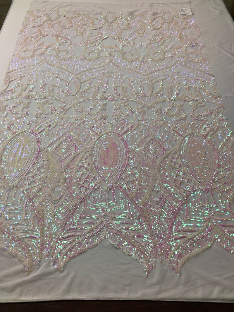 Fabric 4 Way Stretch - Iridescent White Pink Sequins -  Embroidered Lace Fabric By The Yard
