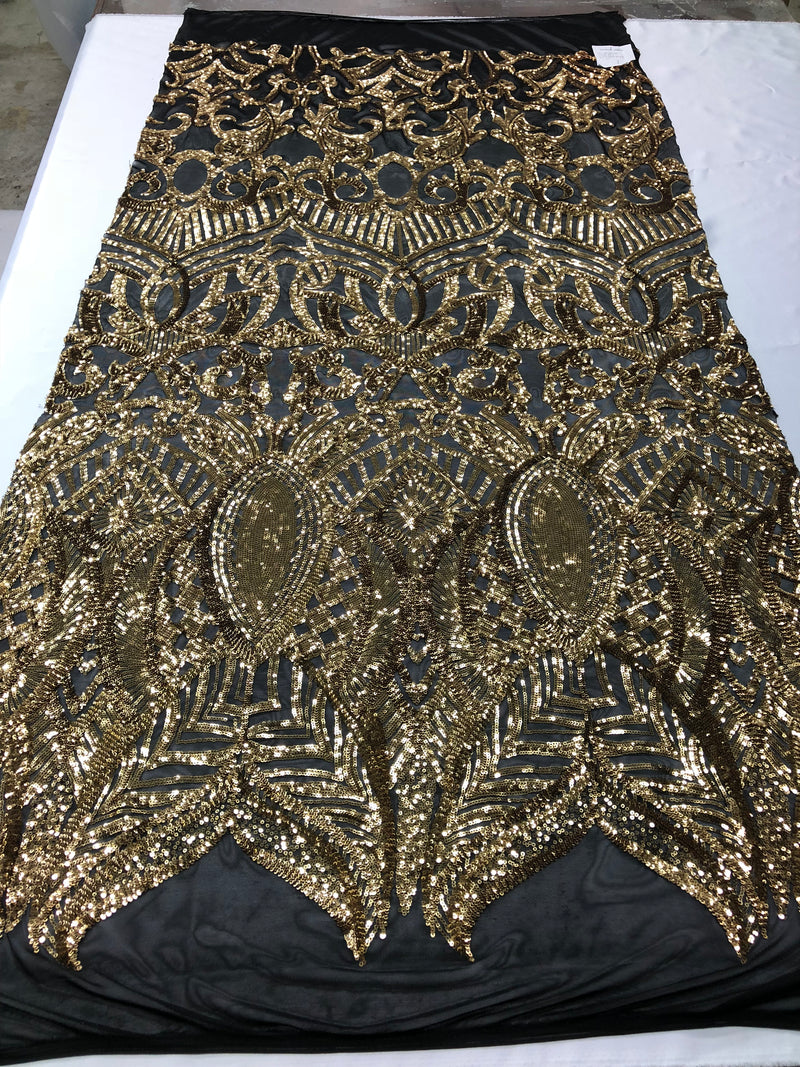 Fabric 4 Way Stretch - Gold on Black Mesh Sequins  - Embroidered Lace Fabric Sold By The Yard