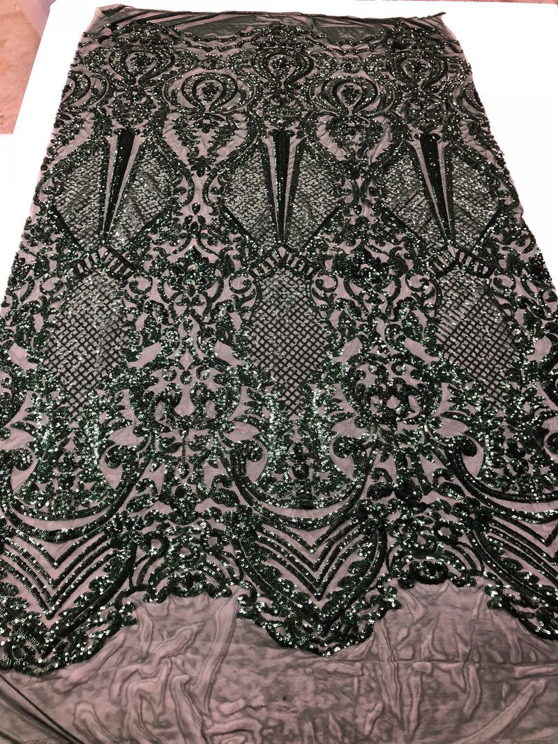 Fancy Design Sequins Fabric with 4 Way Stretch - Hunter Green  -  Beautiful Fabrics Sold By The Yard
