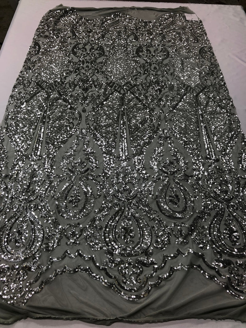 Fancy Embroidery /& Sequins On Lace Stretch Blackwhite DIY Fabric Sold By The Yard Costume Fabric Sewing Materials