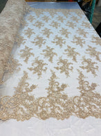 Lace Fabric - Champagne - Corded Flower Embroidery With Sequins on Mesh Polyester By The Yard