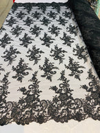 Lace Fabric - Black - Corded Flower Embroidery With Sequins on Mesh Polyester By The Yard