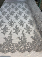 Lace Fabric - Silver - Corded Flower Embroidery With Sequins on Mesh Polyester By The Yard