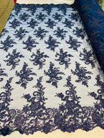 Lace Fabric - Navy - Corded Flower Embroidery With Sequins on Mesh Polyester By The Yard