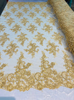 Lace Fabric - Gold - Corded Flower Embroidery With Sequins on Mesh Polyester By The Yard