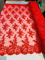 Lace Fabric - Red - Corded Flower Embroidery With Sequins on Mesh Polyester By The Yard