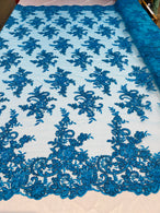 Lace Fabric - Turquoise - Corded Flower Embroidery With Sequins on Mesh Polyester By The Yard