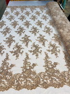 Lace Fabric - Coffee - Corded Flower Embroidery With Sequins on Mesh Polyester By The Yard