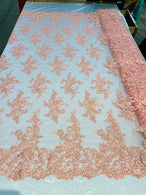 Lace Fabric - Peach - Corded Flower Embroidery With Sequins on Mesh Polyester By The Yard