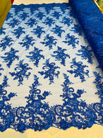 Lace Fabric - Royal Blue - Corded Flower Embroidery With Sequins on Mesh Polyester By The Yard