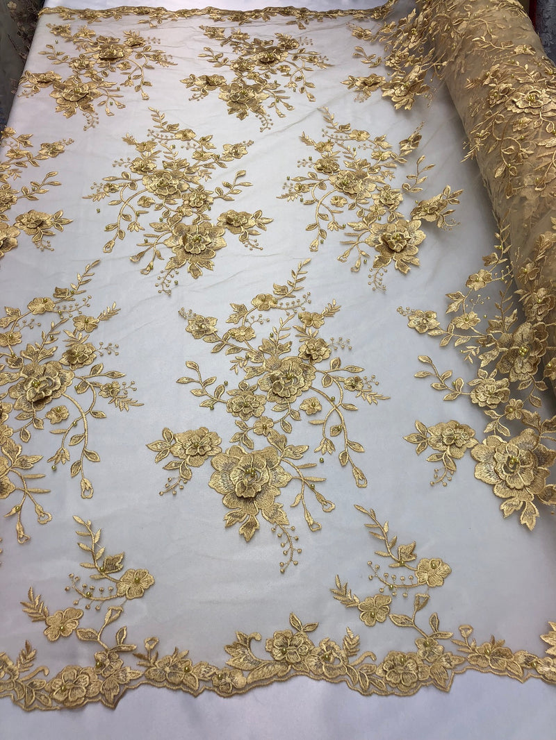 Floral Embroided 3D Fabric with small Pearl Decor - Gold - Beautiful Fabrics Sold by The Yard