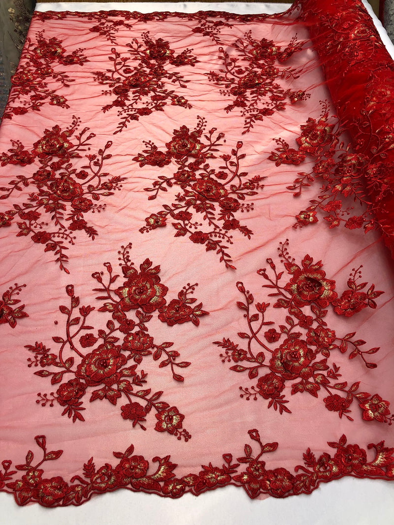 Floral Embroided 3D Fabric with small Pearl Decor - Red - Beautiful Fabrics Sold by The Yard