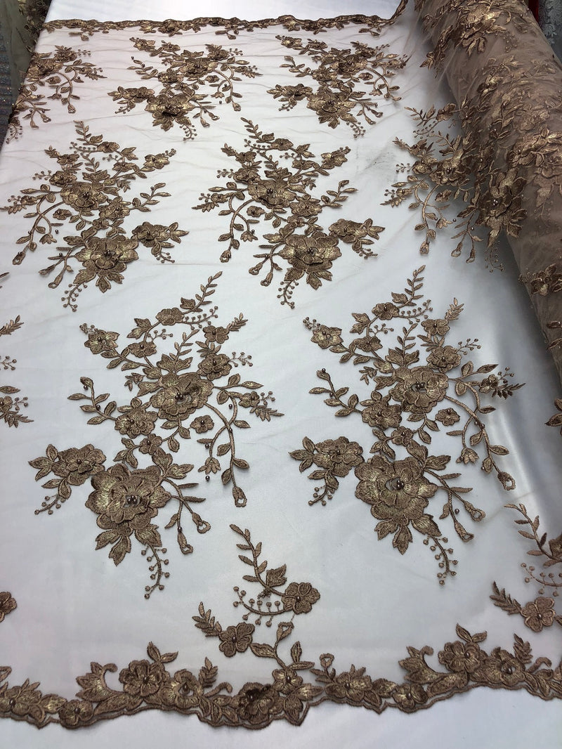 Floral Embroided 3D Fabric with small Pearl Decor - Coffee - Beautiful Fabrics Sold by The Yard