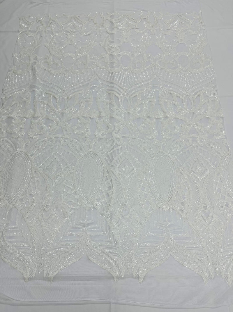 Stretch Sequin Fabric - White - Fancy Damask Design Spandex Mesh 4 Way Stretch