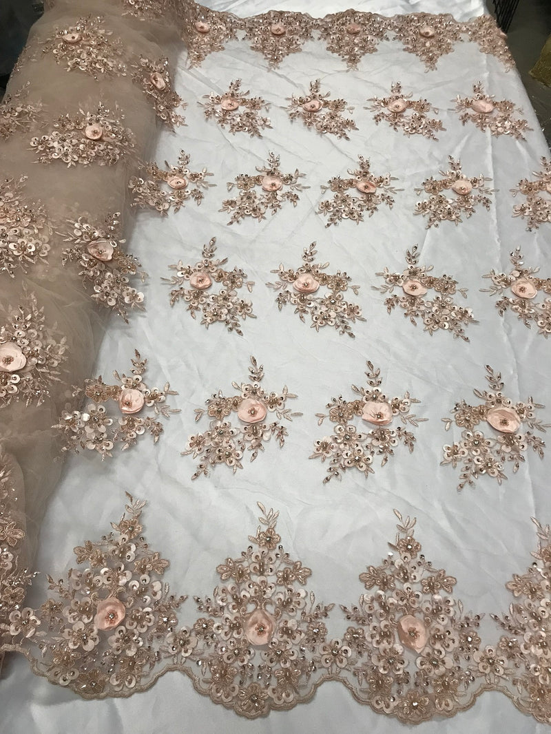 Beautiful - Blush Peach - Embroidered 3D Flower Fabric with Pearls and Rhinestones  Sold by The Yard