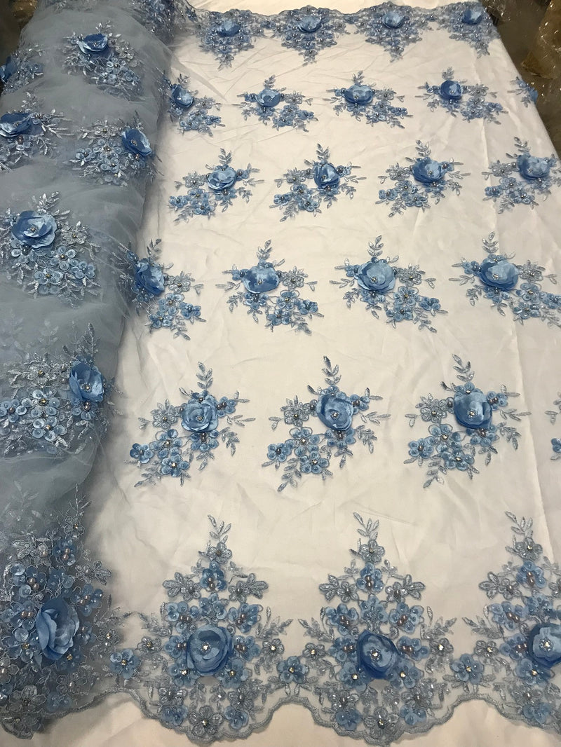 Beautiful - Baby Blue - Embroidered 3D Flower Fabric with Pearls and Rhinestones  Sold by The Yard