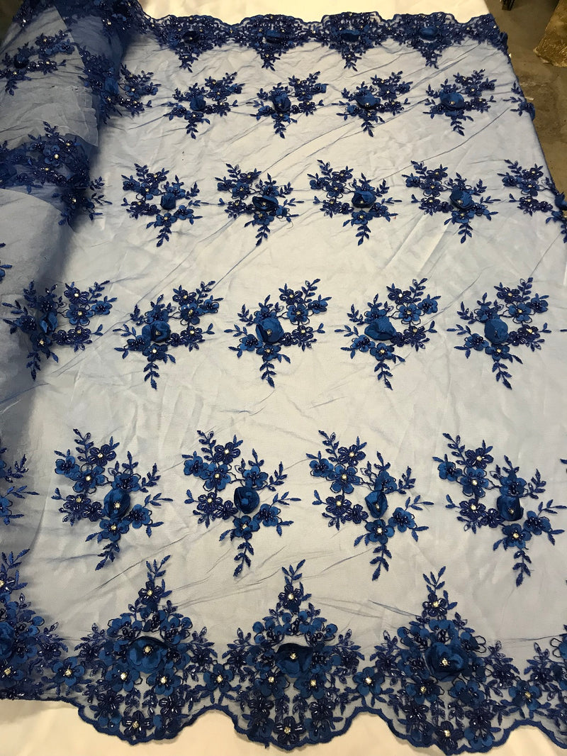 Beautiful - Royal Blue - Embroidered 3D Flower Fabric with Pearls and Rhinestones  Sold by The Yard