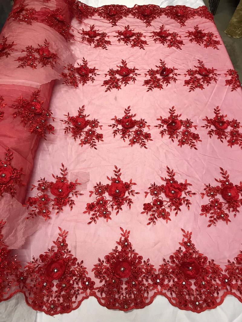 Beautiful - Red - Embroidered 3D Flower Fabric with Pearls and Rhinestones  Sold by The Yard